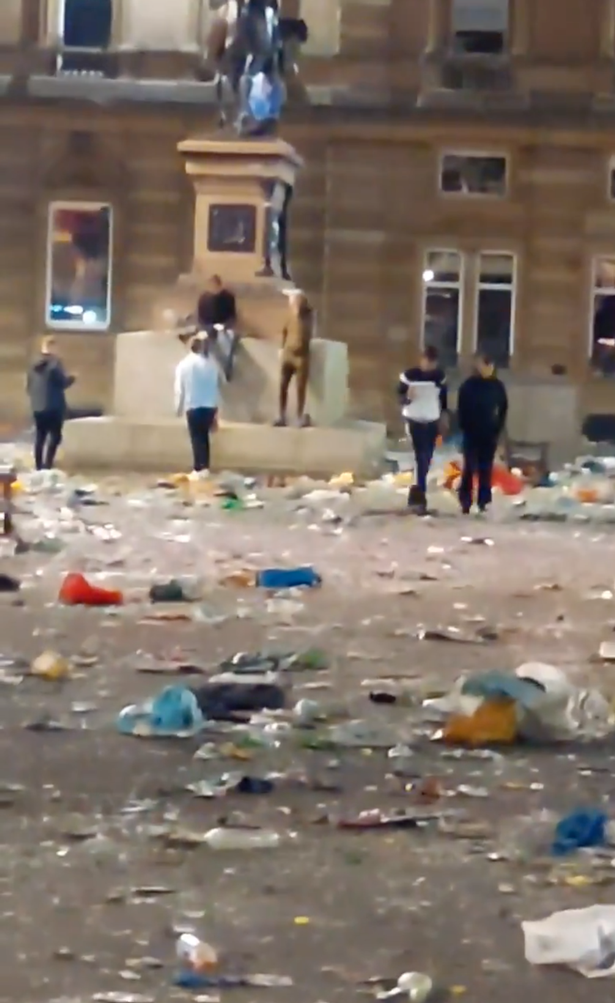 George Square was ransacked by Rangers fans